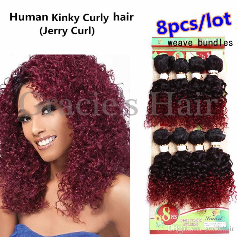 Online Cheap 8inch Ombre Burgundy Curly Hair Weaves Human Hair