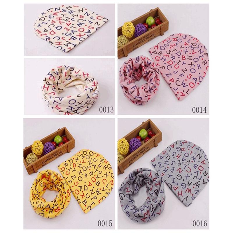 Baby Berretti Sciarpa Set cotone infantile Skullies Bella stampa stile modello novità sciarpa cappello impostato i bambini
