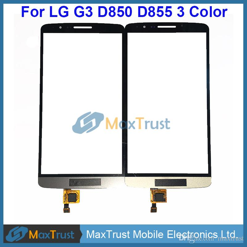 "Top Quality 5.5"" For LG G3 D850 D855 Touch Screen Digitizer Front Glass Panel Lens Sensor Black White Gold Color"