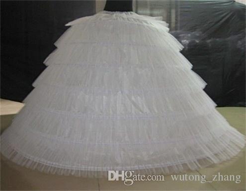 Brand New Big Petticoats White Super Puffy Ball Gown Underskirt 6 Hoops Long Slip Crinoline For Adult Wedding/Formal Dress