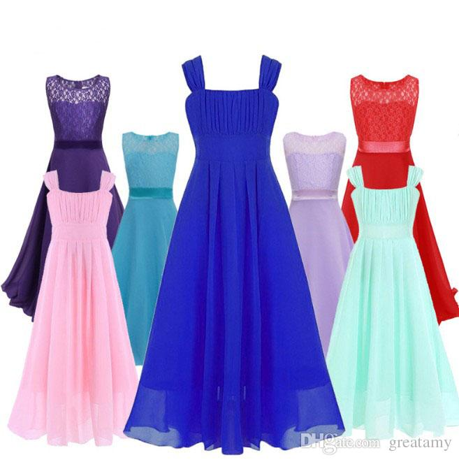 Wholesale Big girls ball gown children prom braces dresses sleeveless kids lace skirts 13 colors girl's boutiques dress hot sale