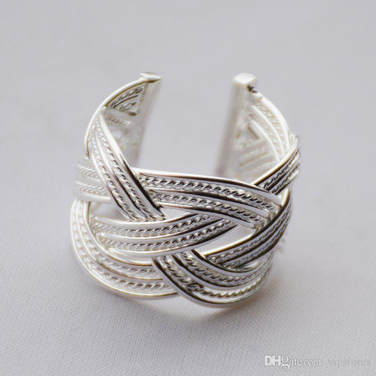 fashion shape ring hand woven product knitted mesh jewelry made open women silver adjustable for rings luxury