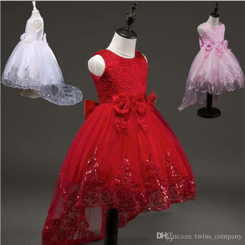 3c3400346d267 2017Fashion Flower Girl Bridesmaid Dress Children Red Mesh Trailing  Butterfly Girls Wedding Dress Kids Ball Gown Embroidered Bow Party Dress
