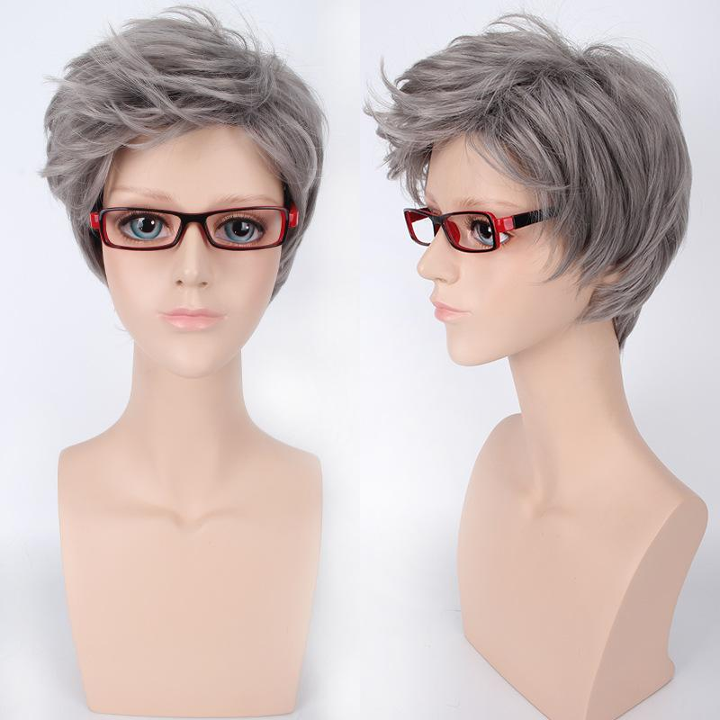 South Korea Style Mens Gray White Short Hair Wig Business