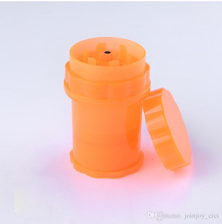 Toptan-3 Katmanlı Depolama Kolaylıkları Şişe Tarzı Plastik Yaprak Bitkisel Tütün Öğütücü Sigara Spice Kırıcı El Değirmeni Muller