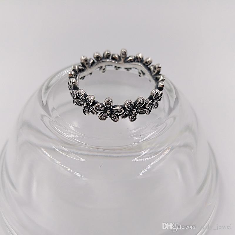 Authentic 925 Sterling Silver Rings Dazzling Daisy Band Ring Fits European Pandora Style Jewelry 190934CZ