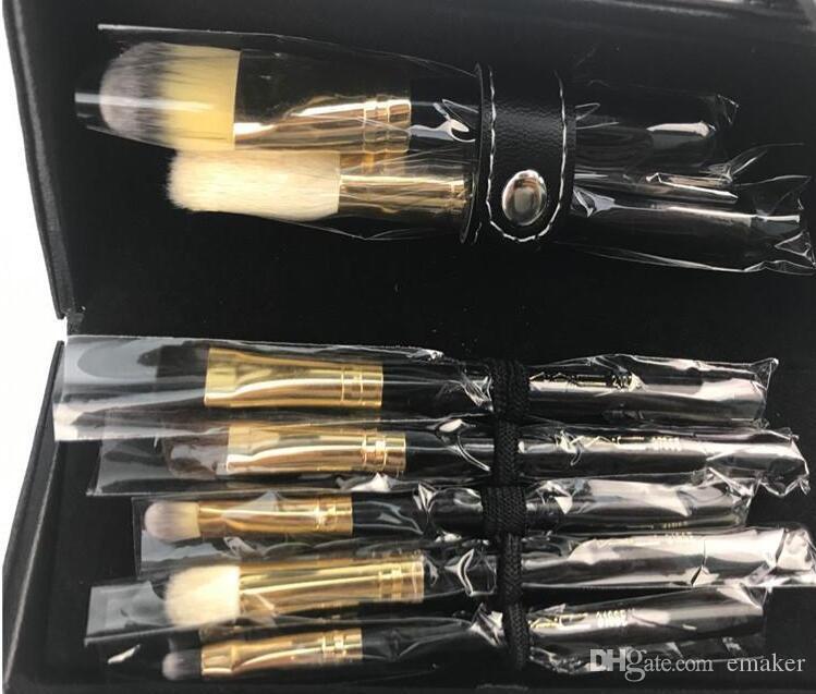 New Luxury Makeup Brush Set Make Up Brush kits with Cylinder leather Box Foundation Powder BB Cream Brushes free ship