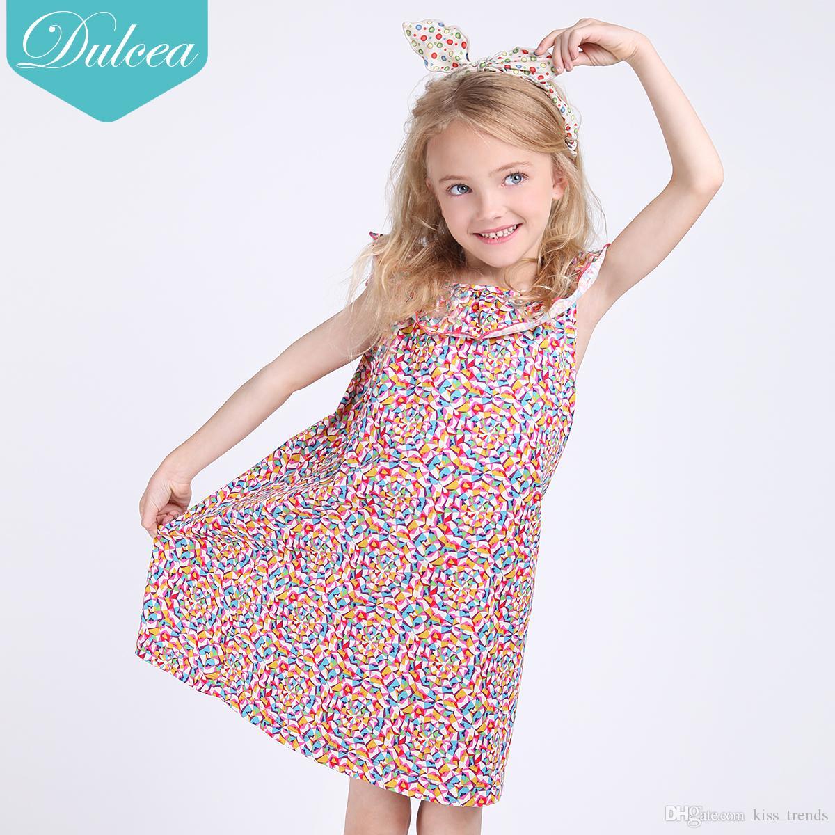 Compre Dulcea Niña De Algodón Vestidos De Verano Falda De Dibujos ...