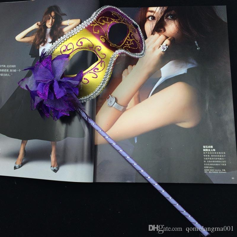 Masquerade Mask On Stick Halloween Two-Color Painted Flower Side Handmade Mask Ball Mask For Christmas Party Evening Prom