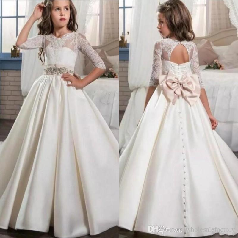 2017 Ivory Lovely Satin Flower Girls Dresses Half Sleeve Lace Bow ...