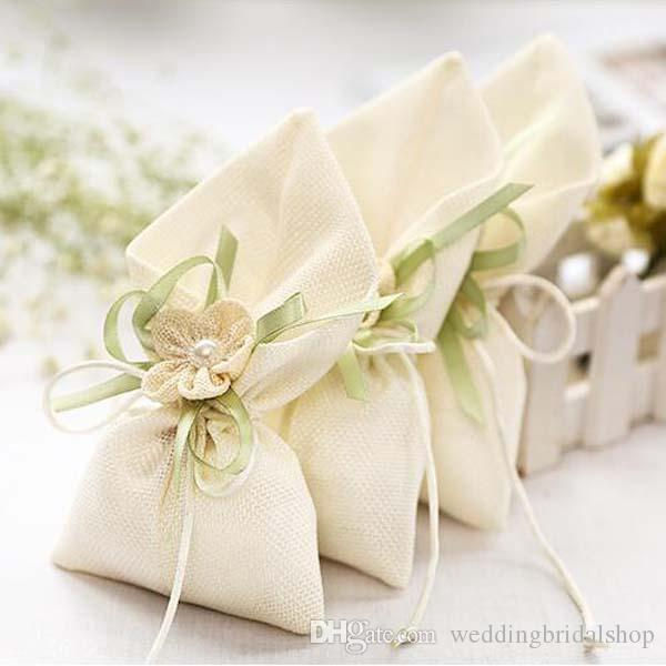 19cm10cm Linen Wedding Gift Bags With Flower Party Favors Bags