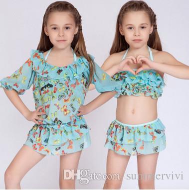 Acquista Costume Da Bagno Bikini Bambini Grandi Ragazze Farfalla ...