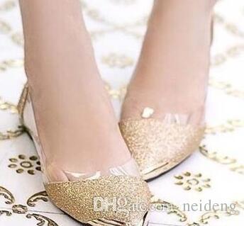 2017 novo o metal chique apontou / dedo do pé fechado brilhante brilhante apontou Asakuchi ballet flat shoes sapatos femininos