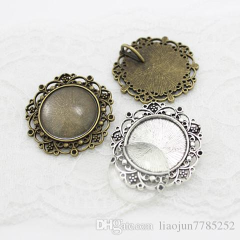 two color round Cameo Filigree Cabochon Settings 39mmFit 25mmMetal Photo Jewelry Making + Clear Glass Cabochons A4116-1