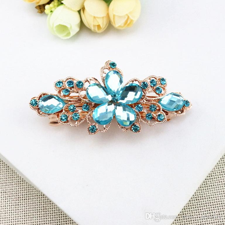Crystal Flower Hairclips Bridal Wedding Hair Accessories Full Rhinestone Flower Hair Clips Barrettes Hair Jewelry for Women Girls