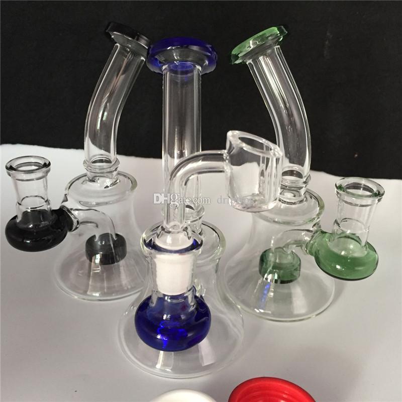 7.2-дюймовый стекло ресайклер буровые установки Бонг с 4 мм кварцевый сосиска ногтей кремния контейнер банку Перколяторы с 14 мм чаша барботер 3 цвета