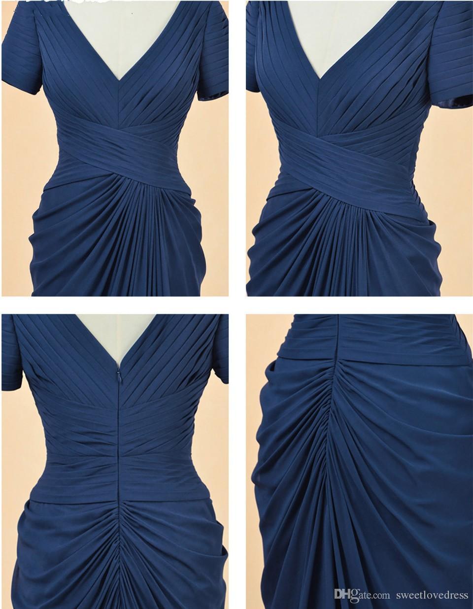 2017 Elegent Mother of Bride Dresses Long V Neck Short Sleeve Pleats Floor Length Wedding Bridesmaid Party Dress