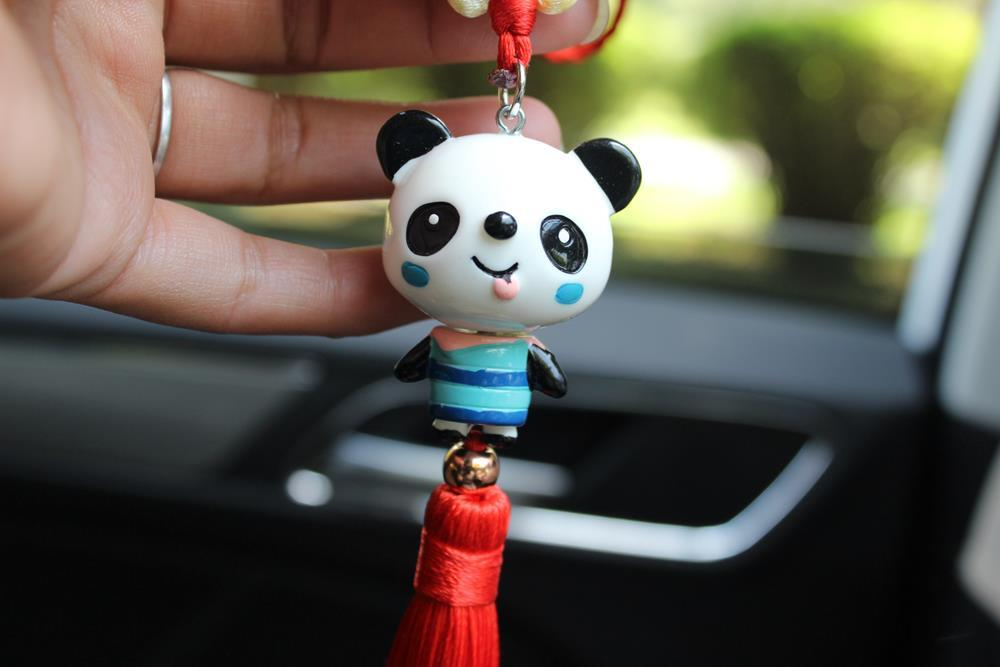 National Treasure Panda peace knot, imitation porcelain, Chinese knot, car hanging decorative pendant, Sichuan tourism souvenirs Gift Boxed