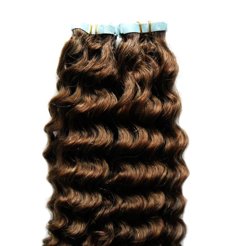 Extensions de ruban adhésif extensions de cheveux humains 100g peau adhésive bande de trame cheveux bande humaine brésilienne en crépus bouclés