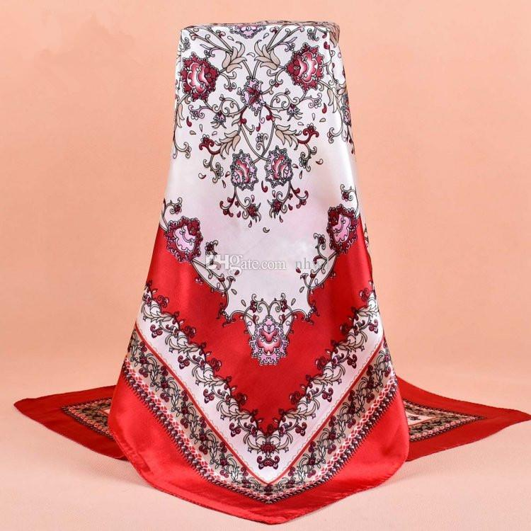Retro Nacional Cachecol De Cetim Cachecóis 90 * 90 CM Moda Grande Quadrado Impresso Senhoras Turbante Muçulmano Lenço De Cabeça