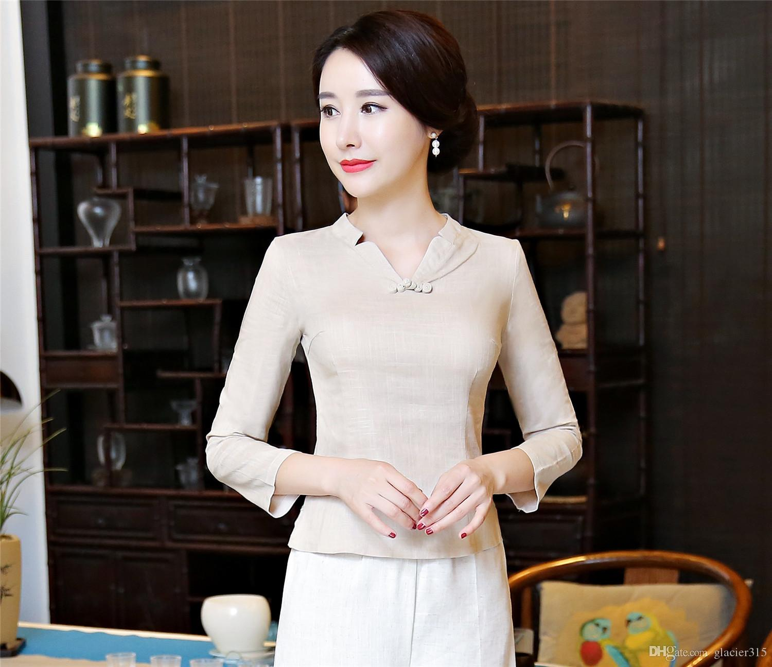 Shanghai Story Chinese Button Woman's Shirt chinese traditional top Long Sleeve cheongsam top traditional Chinese Linen blouse