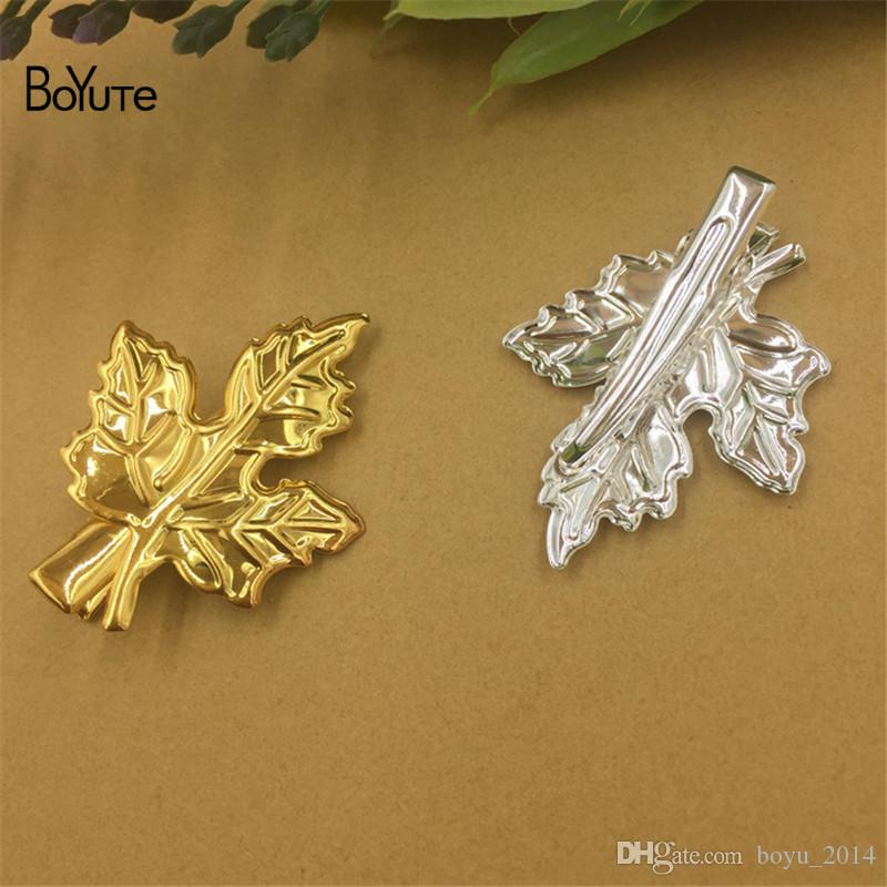 BoYuTe 30*40MM Maple Leaf Hairpin Metal Iron Diy Hair Jewelry Accessories Parts Jewelry Findings & Components