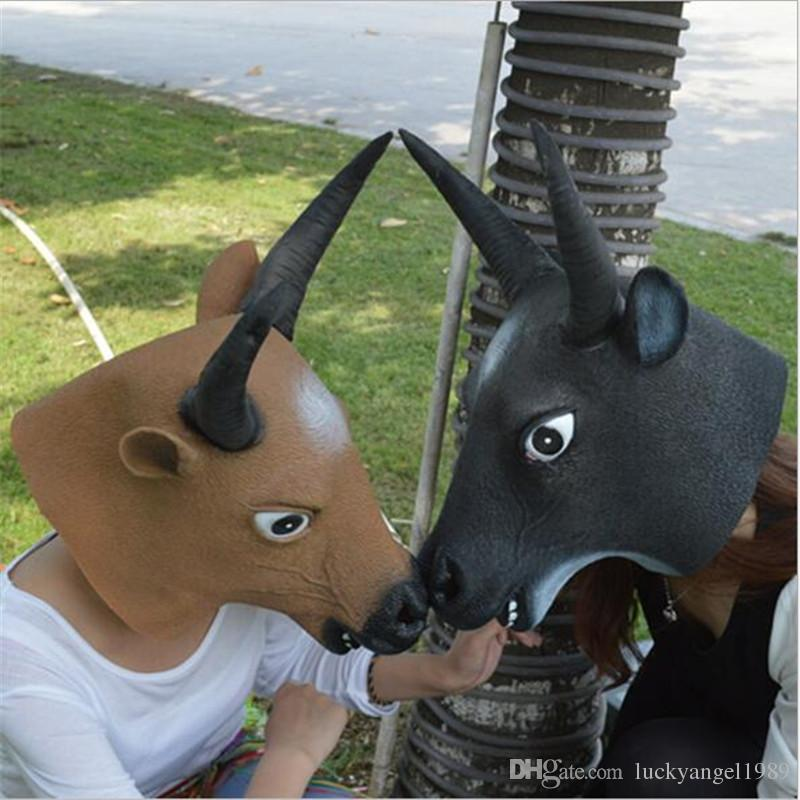 Halloween Mask Cow Ox Devils Mask Horn King Latex Scary Full Head Mask Halloween Masquerade Mascara Terror Cosplay Party Props