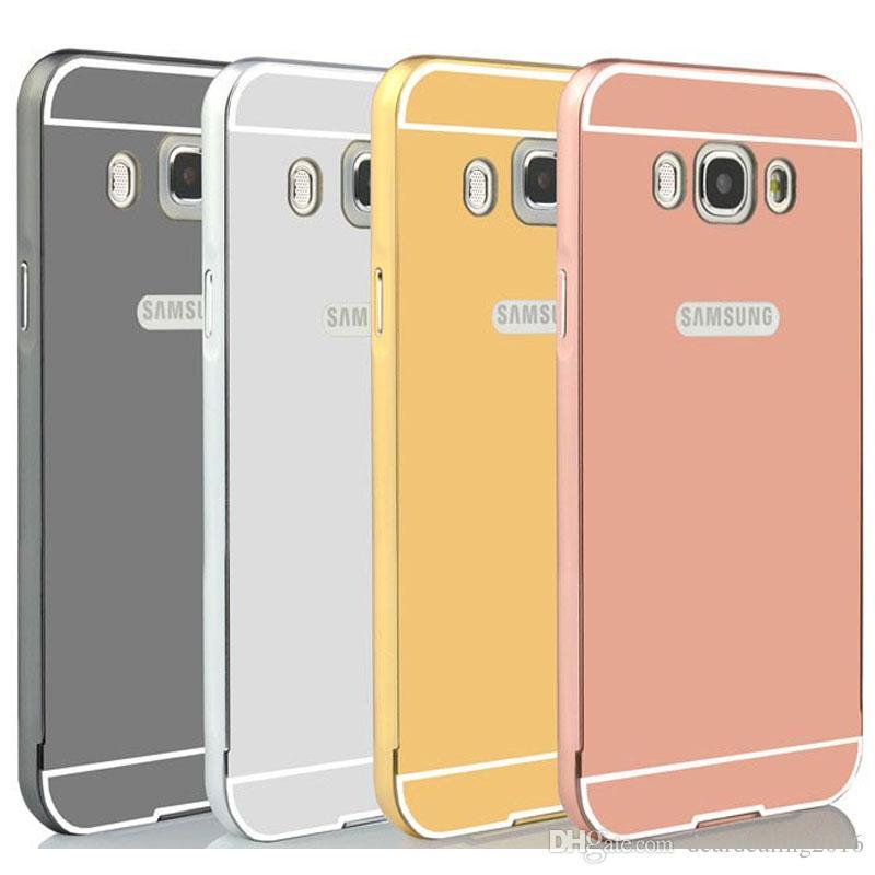1f2c2953570 Carcasa De Celulares Estuche De Espejo Para Samsung Galaxy J5 2015 J500  J500F 2016 J5100 Marco De Aluminio Dorado De Lujo + Cubierta De PC Para  Samsung ...