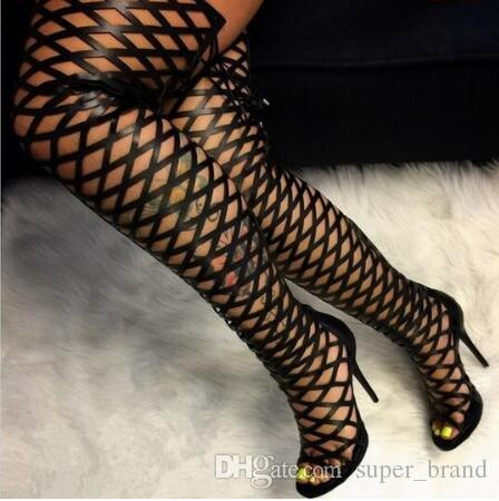 Sexy Leather Boots Black Lace Up Thigh High Boots Cut Out Over The Knee  Cage Sandals High Heel Women Peep Toe Summer Boots Womens Sandals Sandals  For Men ... dbd0295fa888