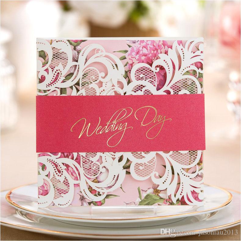 Green / Pink / Purple Laser Cut Wedding Invitation Cards 2017 Flower ...
