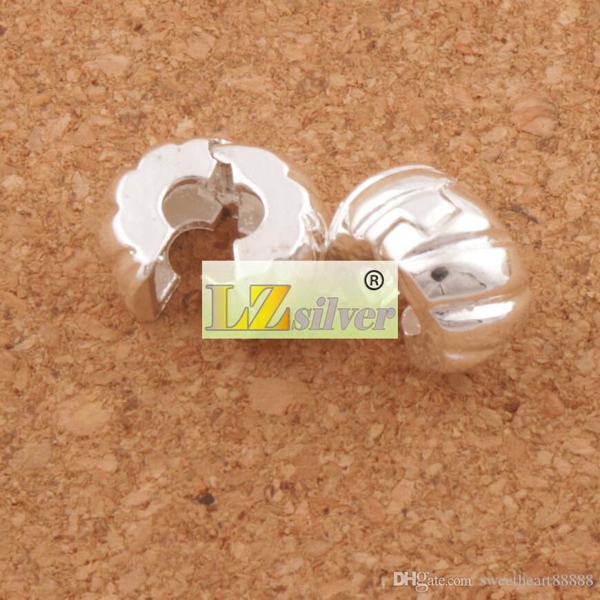 10mm argent plaqué ton citrouille bouchon grande perles de perles clip / Fit européen charme bracelets métalliques bijoux bricolage L1749