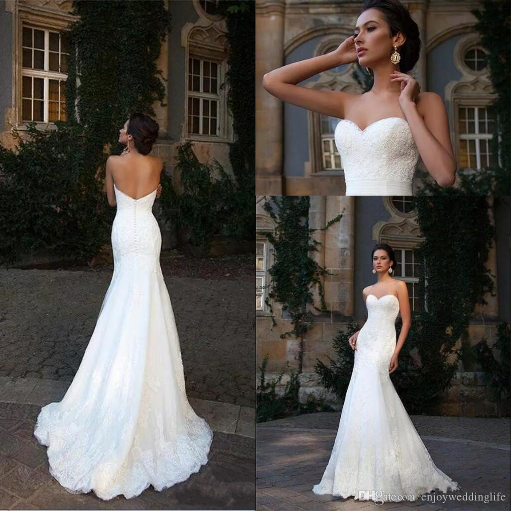 2017 Elegant Wedding Dresses Mermaid Full Lace Sweetheart
