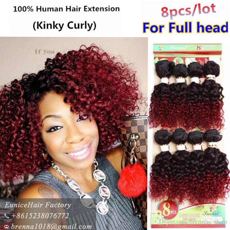 Brazilian Curly Weave Human Virgin Hair 8pcslot 8inch Afro Kinky Curly Hair Weave Bundles Black1bbug1b30 Ombre Curly Weave Hair Bundles