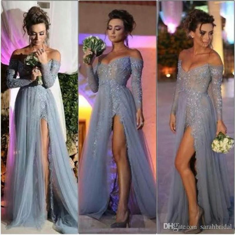 2019 New Fashion Long Sleeves Dresses Party Evening A Line Off Shoulder High Slit Vintage Lace Grey Prom Dresses Long Chiffon Formal Gowns