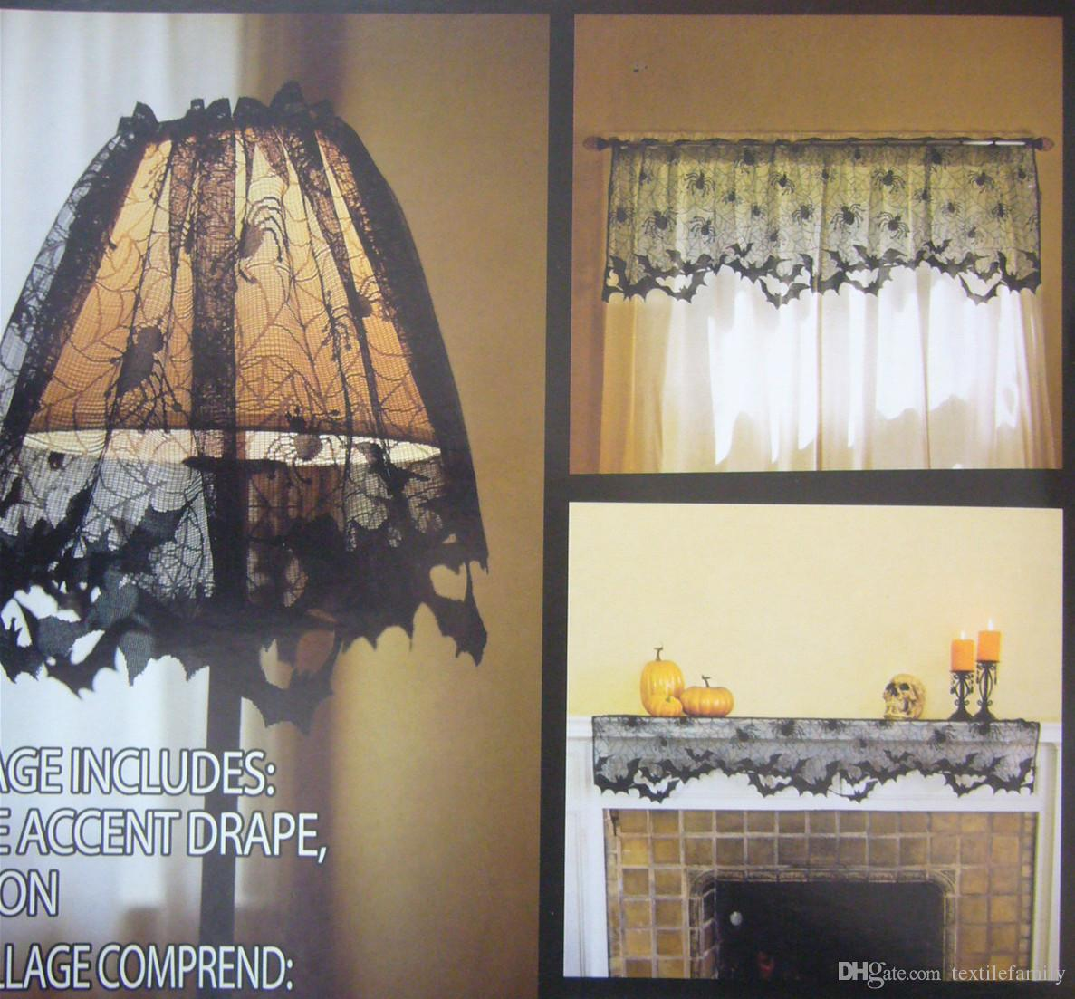 Halloween Spider Web Bat Lamp Shade Cover Spider Black Lace Sheer ...