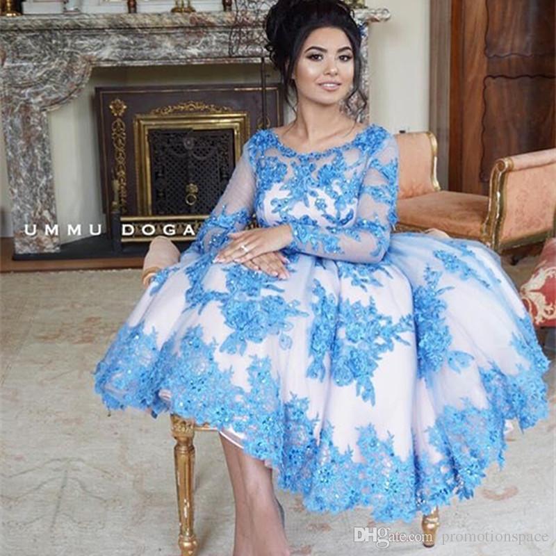 Custom Made Lace Prom Klänningar 2016 Gravida Kvinnor Beaded Neck Långärmad Kort Prom Dress Hot Sell Party Dresses