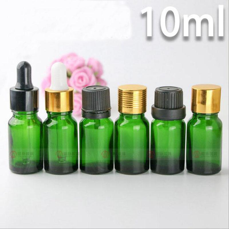 E liquid E juice Essential Oil Use 10ml Green Glass Dropper Bottles With Child Resistant Dropper Cap Hot Selling