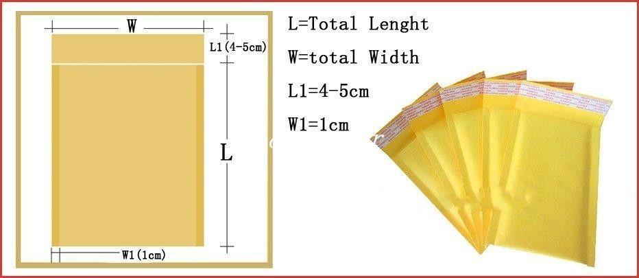 12 * 16 CM + 40mm Kraft Busta della busta della posta di carta PE Busta imbottita bolla Borse di imballaggio Forniture di spedizione Consegna gratuita di alta qualità