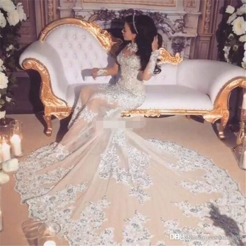 Luxury Sparkly 2017 Wedding Dress Sexy Sheer Bling Beaded Lace Applique High Neck Illusion Long Sleeve Champagne Mermaid Chapel Bridal Gown
