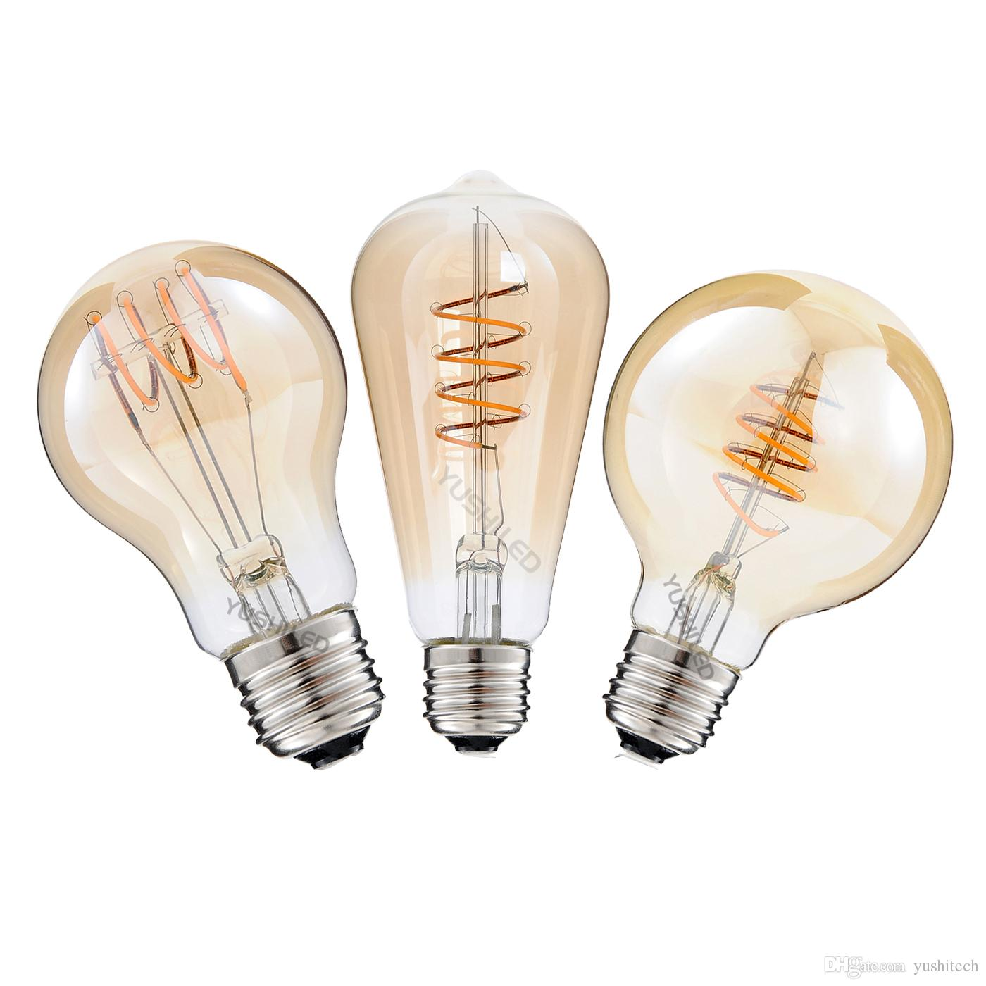 best dimmable 2200k ac110 220v st64g25a19 spiral lamp vintage led filament bulb 4w led light bulb 40w equivalent edison bulb led can light