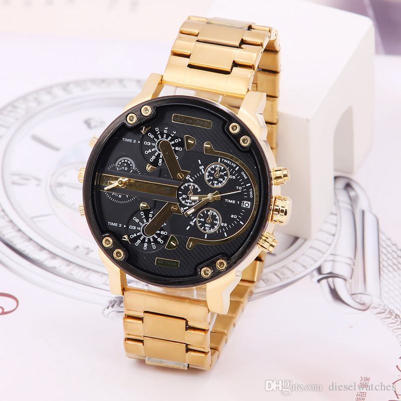 Montres Hommes Sport Grand Cadran d'affichage Top Marque montre de luxe DZ Quartz Steel Band 7333 Montres-bracelets mode pour hommes Livraison gratuite 2017
