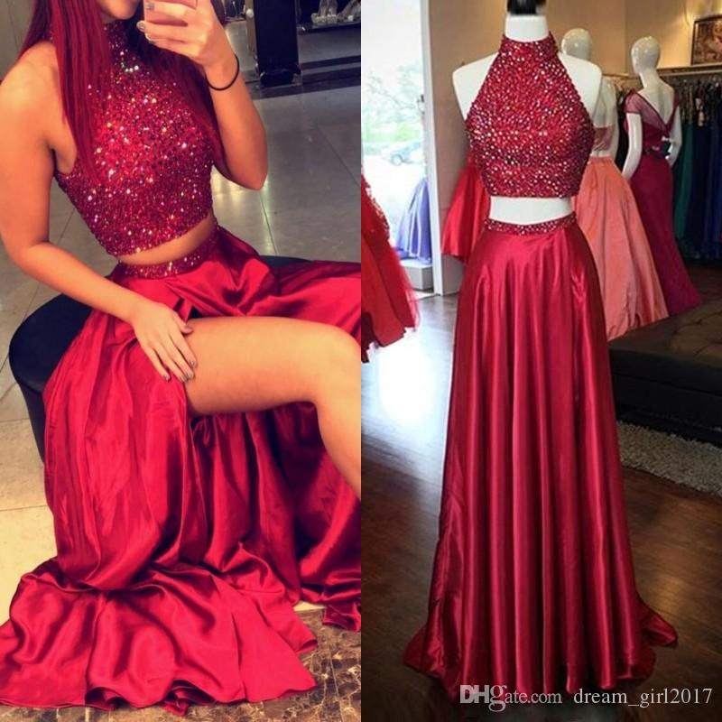 b4f0c30f528 2017 New Two Pieces Prom Dresses High Neck Crystal Beading Satin Burgundy  Side Split Hollow Back Long Formal Party Dress Evening Gowns Design Prom  Dress ...