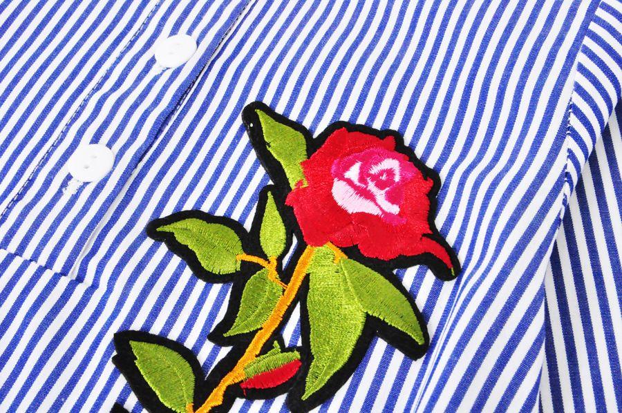 2017 Новые Детские Платья Baby Girls Мода Роза Цветок Полосатая Блузка Платье Девушки С Длинным Рукавом Платье Бесплатная Доставка