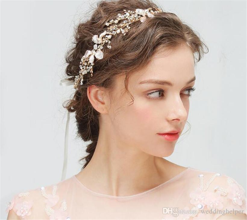 Princess Freshwater Pearl Headband Hair Band Ribbon Wedding Bridal Crystal Rhinestone Crown Tiara Gold Silver Flower Headpiece Hair Jewelry
