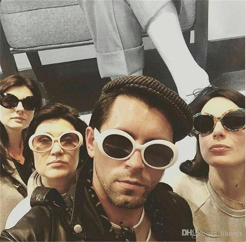 Nirvana كورت كوبين نظارات شمسية للنساء الرجال 2018 بارد أنثى الذكور نظارات الشمس البيضاوي نظارات uv400 جافاس دي سول أسود أبيض To324