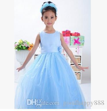 c300dc87f Children s Clothing Girl s Dresses Solid Color Long Sleeveless ...