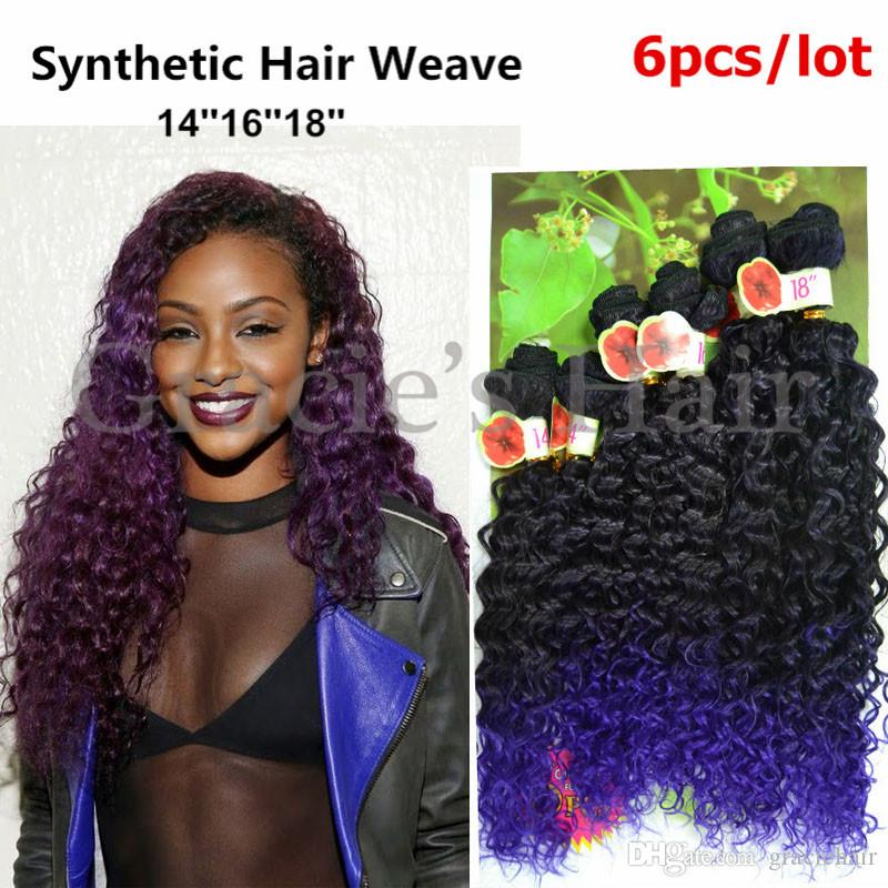 1b Purple Kinky Curly Synthetic Hair Weave Bundles Jerry Curl