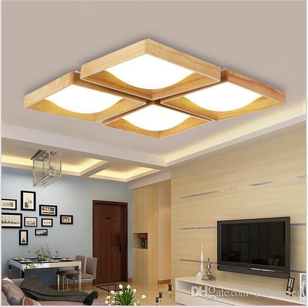 2018 wood led ceiling lights square light ceiling flush mount