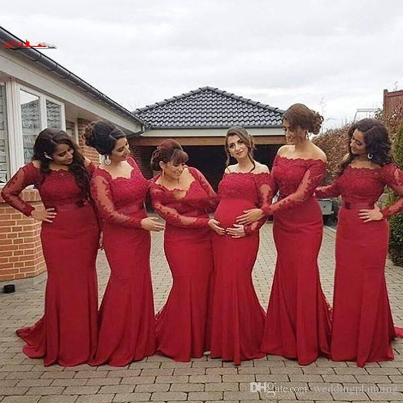 2017 Arabic African New Red Bridesmaid Dress Plus Size Sexy Off Shoulder Long Sleeves Lace Backless Pregnant Formal Dresses