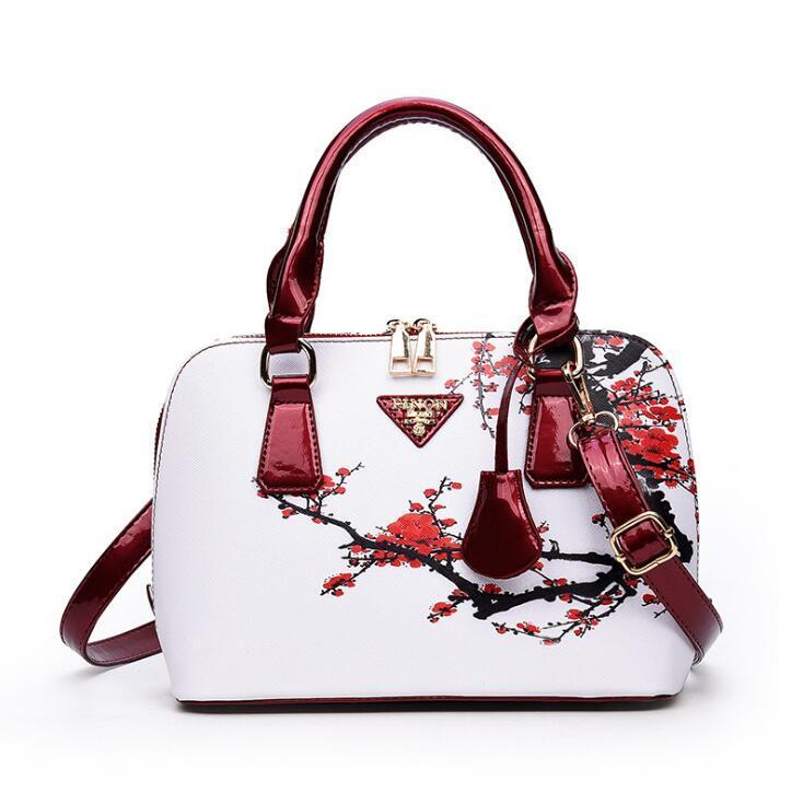 Borse vintage shell donna moda flora stampa pu borse da donna di lusso hangbags nuove borse crossbody del progettista le donne spedizione gratuita